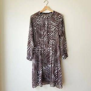 Zara | Flowy Chiffon Palm Tropical Print Dress